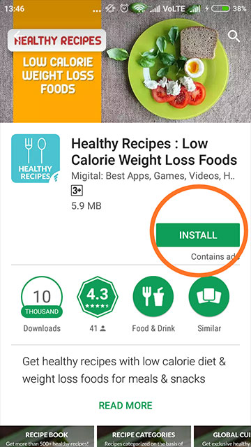 Healthy Recipes : Low Calorie Weight Loss Foods - Play Store