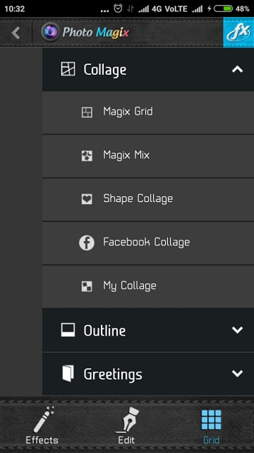 Photo FX - Menu Options
